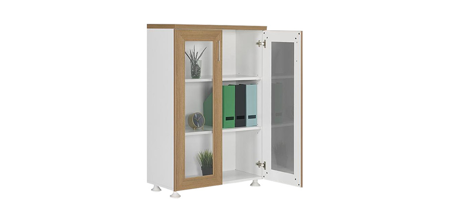 DDC-120 WOODEN FRAME GLASS DOOR FILE CABINET