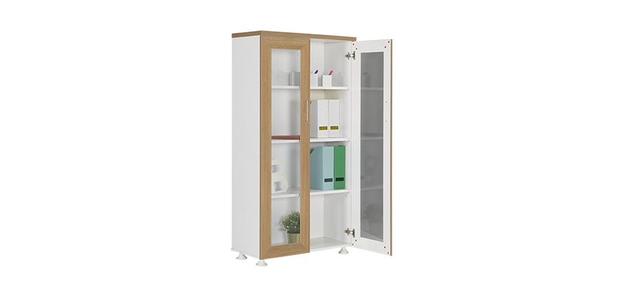 DDC-160 WOODEN FRAME GLASS DOOR FILE CABINET