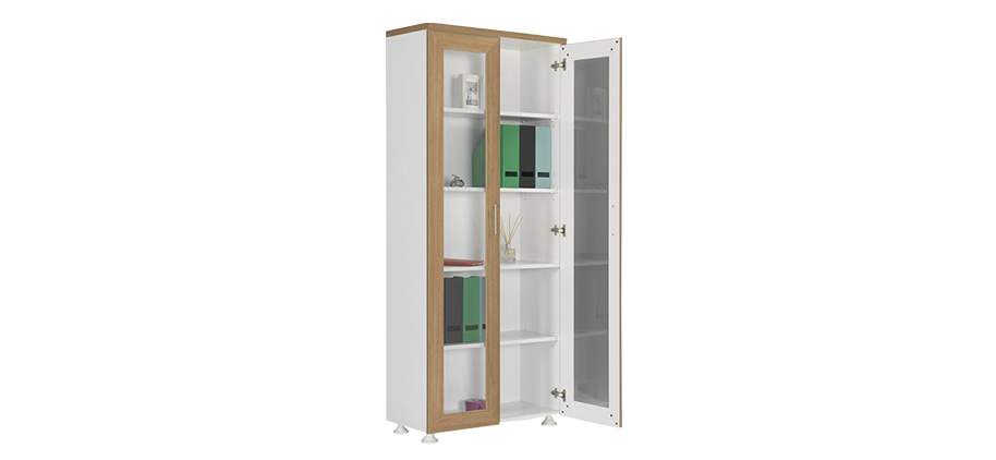 DDC-190 WOODEN FRAME GLASS DOOR FILE CABINET