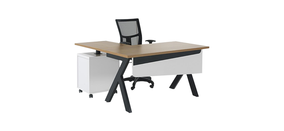 NORM-160 MELAMIN COATED L TYPE OFFICE TABLE